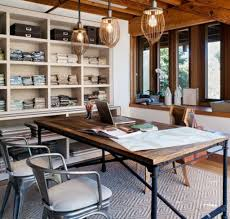 Professional Office Decor Ideas by Glass Pendant Lamp With Rustic Desk For Professional Office