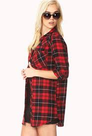 forever 21 rustic plaid shirt dress in red lyst