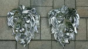pair majestic silver lion head wall hanging hollywood regency home