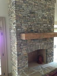 stacked stone interior fireplace refacing a brick with cultured