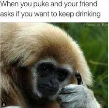 Puke Meme - when you puke and your friend asks if you want to keep drinking