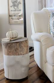 looking tree stump side table view in office small room the