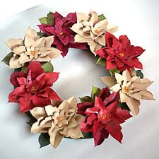 make a paper poinsettia wreath