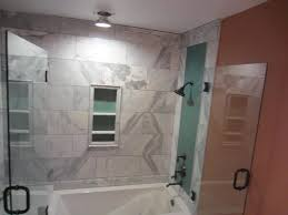bathroom glass door installation tub and shower frameless enclosure patriot glass and mirror