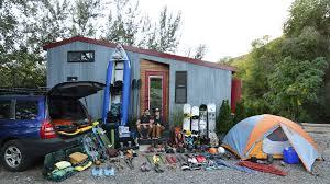 shed tiny house base camp on wheels integrated u0027gear room u0027 storage