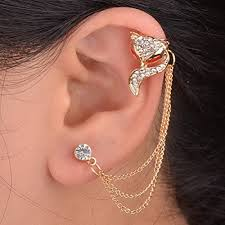 cuff earrings with chain 1pc animal fox ear chain stud left wrap clip cuff earring