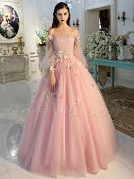 princess off the shoulder long sleeve applique lace up ball gown