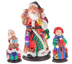 pacconi handpainted blown glass 3pc tabletop figurine set