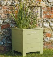fsc wooden garden planters in outdoor painted green eucalyptus
