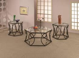 glass top amp bronze tone metal base modern coffee table set is