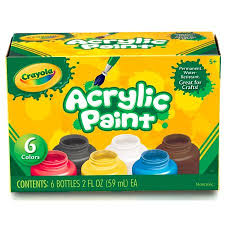 crayola 6 count acrylic 2 ounce paint set walmart com