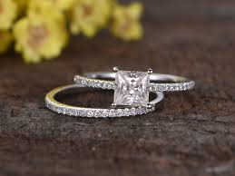 gold wedding band with white gold engagement ring 1 carat princess cut moissanite engagement ring set diamond