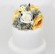 wedding cake topper yellow white rose gray hydrangea silk