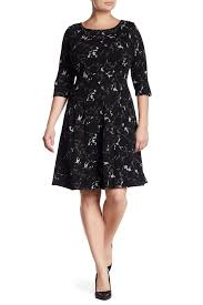 dress pattern fit and flare taylor shadow leaf pattern fit flare dress plus size