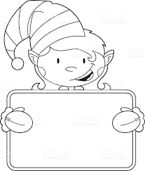 colour in elf holding a banner stock vector art 165592742 istock