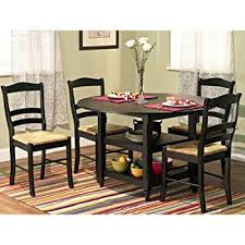 Drop Leaf Dining Room Table Amazon Com Winsome 5 Piece Alamo Round Drop Leaf Table With 4