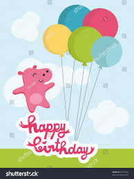 cute happy birthday card nice pink stock vector 96351509