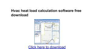hvac heat load calculation software free download google docs