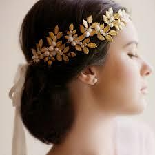 gold leaf headband jonnafe gold leaf vintage tiara bridal headband pearl hair jewelry