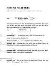english teaching worksheets writing an article