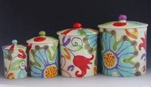 colorful kitchen canisters floral canister set jubilation canister set of four colorful