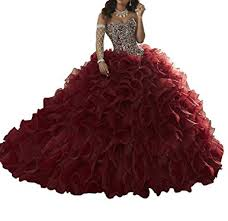 burgundy quince dresses mcandy womens rhinestone gowns sweet 15 16 quinceanera
