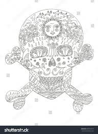 sugar skull day dead coloring page stock illustration 309782219