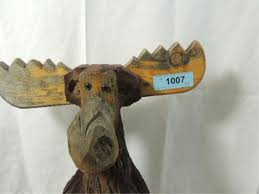 carved wood moose lawn ornament statue