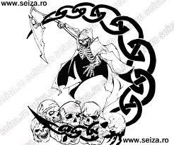 grim reaper skulls celtic moon