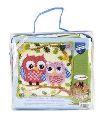 Vervaco Latch Hook Rug Kits Vervaco Cushion Latch Hook Kit 16 U0027 U0027x16 U0027 U0027 Owls On A Branch Joann