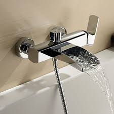 bathtub faucet wall mount chrome finish single handle wall mount waterfall bathtub faucet