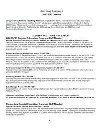 Long Term Substitute Resume Paraprofessional Tutor Cover Letter