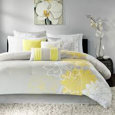 Madison Park Bedding Website Madison Park Brianna Grey And Yellow Flower Printed Cotton