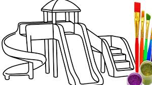 how to draw sliding playground kid coloring pages for children