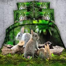 Forest Bedding Sets Rabbit Hare 3d Bedding Set Size Green Forest Bedspreads