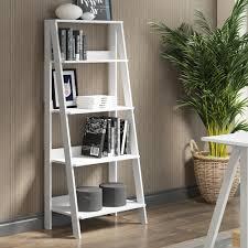 White Ladder Shelves by Walker Edison Furniture Company 55 In Wood Ladder Bookshelf