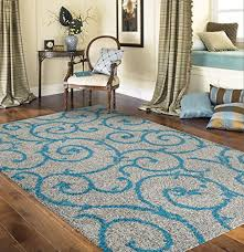 Keep Rug In Place Soft Cozy Contemporary Scroll Turquoise Gray 7 U002710