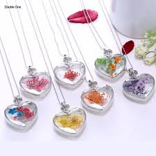s day locket specimen dried flowers plant heart necklace glass gold silver locket
