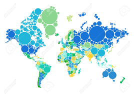 Countries Map Political Dot World Map With Countries Royalty Free Cliparts