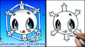 christmas winter cartoons how to draw a cute snowflake