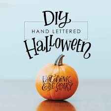 diy hand lettered halloween pumpkin decorating with free tracers