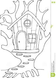 doodle style fairy tree house stock vector image 74252542