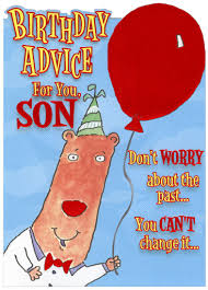 bear with red foil balloon on textured blue funny son birthday