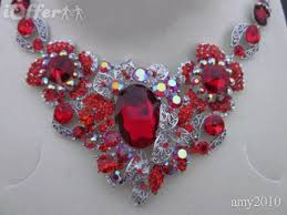 diamond necklace red images Bride jewelry red diamond necklace earrings sets for sale jpg