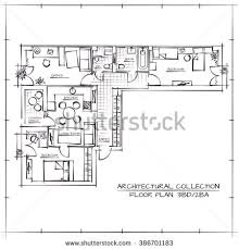 three bedroom apartments floor plans architectural hand drawn floor planthree bedrooms stock vector