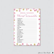 pink and gold bridal shower word scramble printable pink and
