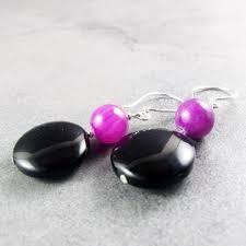 purple drop earrings black purple earrings drop earring design a statement