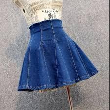 2017 high waist student womens cute cotton denim ball gown skirt