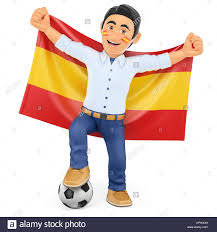 The Flag In Spanish Happy Spanish Man Supporter Isolated Stock Photos U0026 Happy Spanish