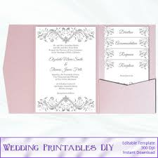 diy pocket wedding invitations pocket fold wedding invitation set diy silver gray